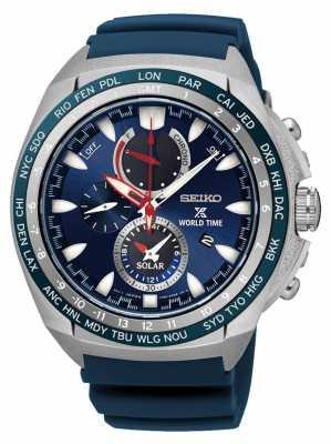 Seiko Prospex World Time Solar Powered Blue Rubber Strap SSC489P1