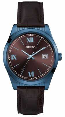 Guess Mens Baxter Brown Leather Strap Blue Case W0874G3