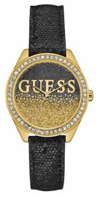 Guess Womens Glitter Girl Black Leather Strap Gold Case W0823L6