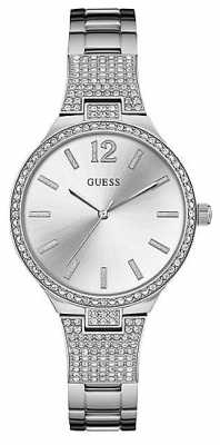 Guess Womens Uptown Girl Stainless Steel Bracelet Silver Dial W0900L1