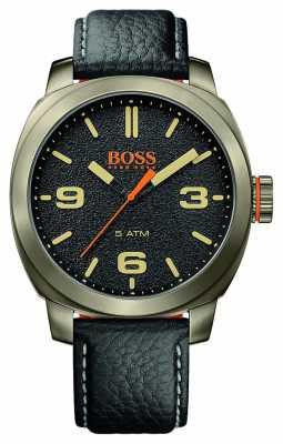 Hugo Boss Orange Mens Cape Town Black Leather Strap Gold Tone Case Black Dial 1513409