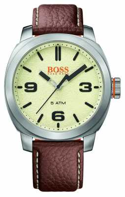 Hugo Boss Orange Mens Cape Town Brown Leather Strap Cream Dial 1513411
