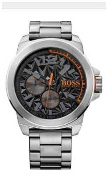 Hugo Boss Orange Mens New York Stainless Steel Bracelet Black Dial 1513406