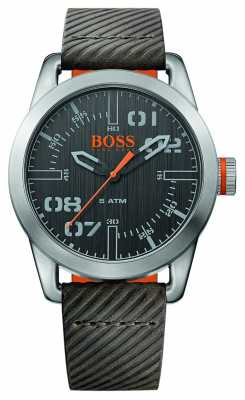 Hugo Boss Orange Mens Oslo Brown Leather Strap Black Dial 1513417