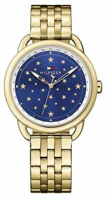Tommy Hilfiger Womens Lucy Gold Tone Stainless Stell Blue Dial 1781737