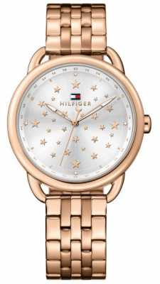 Tommy Hilfiger Womens Lucy Rose Gold Tone Stainless Steel Silver Dial 1781738