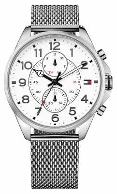 Tommy Hilfiger Mens Dean Stainless Steel Bracelet White Dial 1791277