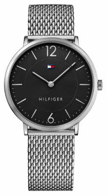 Tommy Hilfiger Mens James Stainless Steel Mesh Bracelet Black Dial 1710355