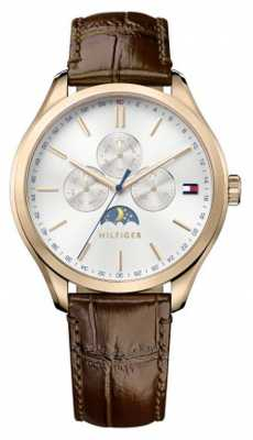 Tommy Hilfiger Mens Oliver Brown Leather Strap White Dial 1791306