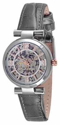 Kenneth Cole Womens Automatic Stainless Steel Case Grey Leather Strap KC10027309