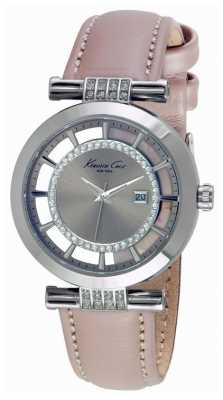 Kenneth Cole Womens Pink Leather Strap Silver Tone Dial KC10021104