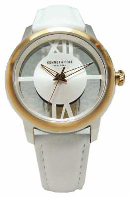 Kenneth Cole Womens White Leather Strap Transparent Dial KC10024374