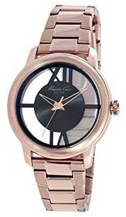 Kenneth Cole Womens Rose Gold Tone Stainless Steel Transparent Dial KC10024376