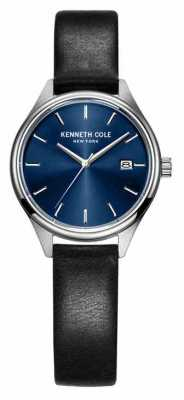 Kenneth Cole Womens Black Leather Strap Blue Dial KC10030839