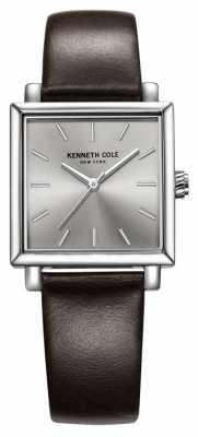 Kenneth Cole Womens Brown Leather Strap Silver Dial KC10030822