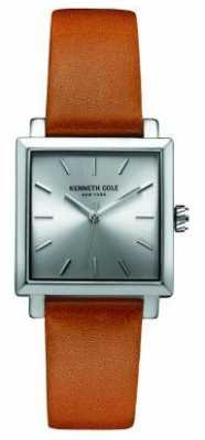 Kenneth Cole Womens Tan Leather Strap Silver Dial KC10030823