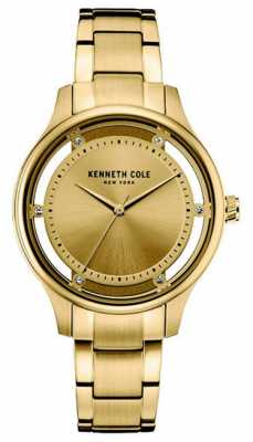 Kenneth Cole Womens Gold Tone Stainless Steel Gold Dial KC10030797