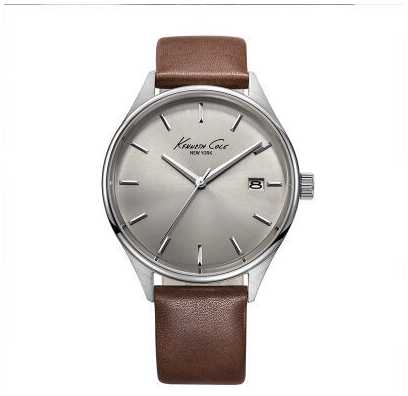 Kenneth Cole Mens Brown Leather Strap Grey Dial KC10029305