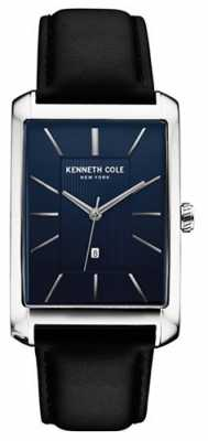 Kenneth Cole Mens Black Leather Strap Blue Dial KC10030830