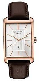 Kenneth Cole Mens Brown Leather Strap Silver Dial KC10030831