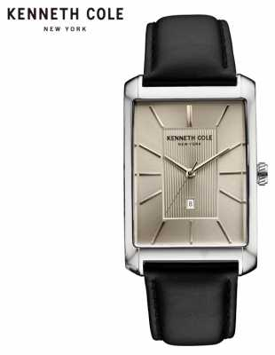 Kenneth Cole Mens Grey Leather Strap Grey Dial KC10030832
