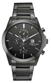 Kenneth Cole Mens Grey Tone Stainless Steel Black Dial KC10030793