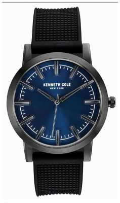 Kenneth Cole Mens Black Rubber Strap Blue Dial KC10030808