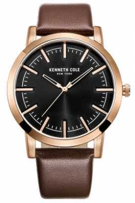 Kenneth Cole Mens Brown Leather Strap Black Dial KC10030809