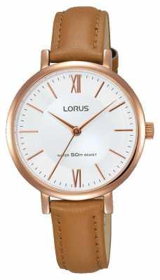 Lorus Womens Tan Leather Strap Silver Dial RG262LX9