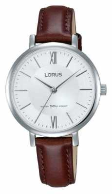 Lorus Womens Brown Leather Strap Silver Dial RG263LX9