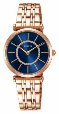 Lorus Womens Rose Gold Tone Stainless Steel Blue Dial RRW98EX9