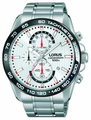 Lorus Mens Chronograph Stainless Steel Bracelet White Dial RM379CX9