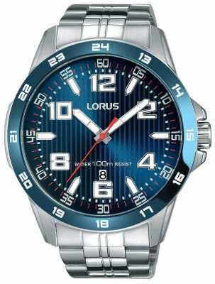 Lorus Mens Stainless Steel Bracelet Blue Dial RH901GX9