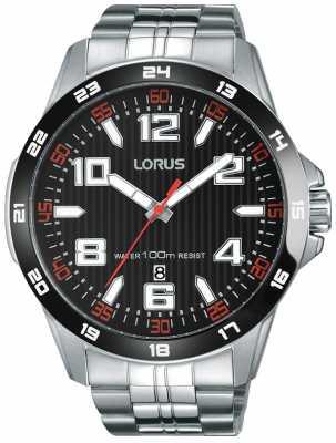 Lorus Mens Stainless Steel Bracelet Black Dial RH905GX9