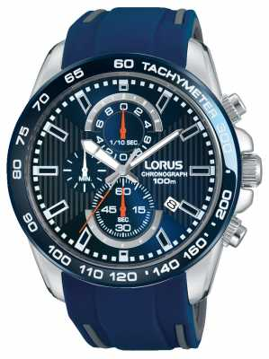 Lorus Mens Blue Rubber Strap Blue Dial RM389CX9
