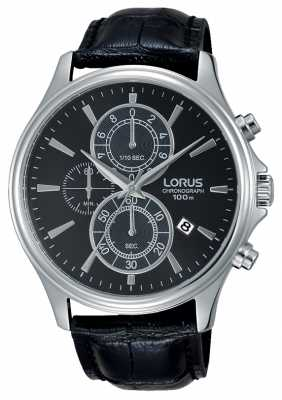 Lorus Mens Black Leather Strap Black Dial RM313DX9