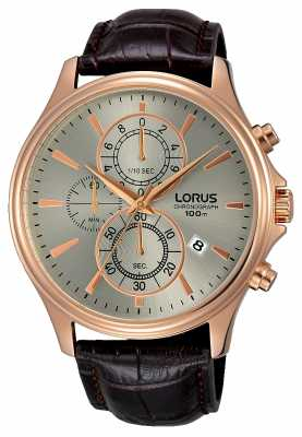 Lorus Mens Brown Leather Strap Grey Dial RM318DX9