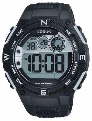 Lorus Mens Chronograph Alarm Black Rubber Strap R2307LX9