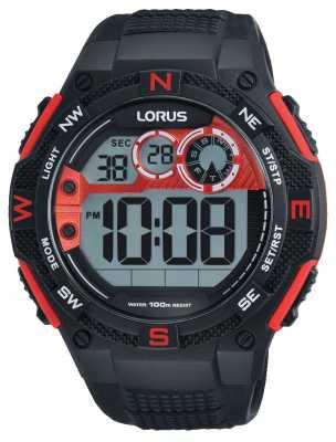 Lorus Mens Chronograph Alarm Black Rubber Strap R2309LX9