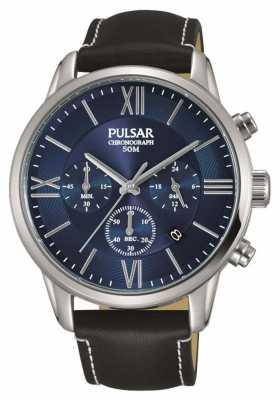 Pulsar Mens Chronograph Black Leather Strap Blue Dial PT3809X1