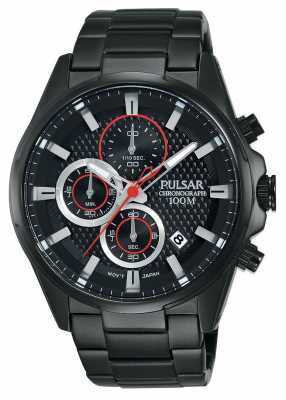 Pulsar Mens Chronograph Black Steel Bracelet Black Dial PM3065X1