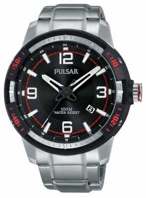 Pulsar Mens Stainless Steel Bracelet Black Dial PS9475X1