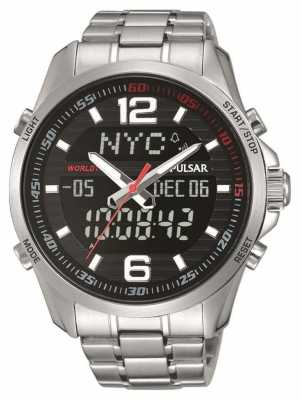 Pulsar Mens WRC Alarm Stainless Steel Black Dial PZ4001X1