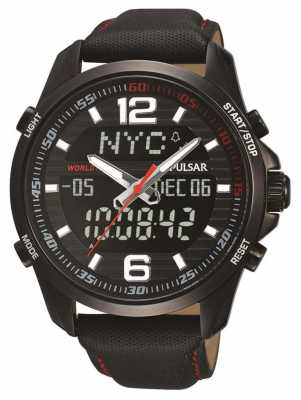 Pulsar Mens Wrc Alarm Chronograph Leather Strap PZ4009X1