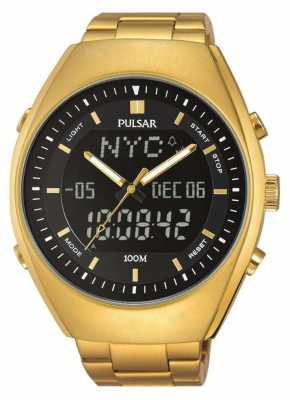 Pulsar Mens Alarm Gold Tone Stainless Steel Black Dial PZ4012X1