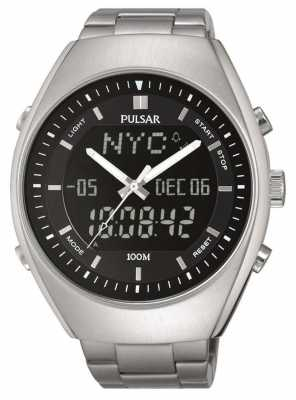 Pulsar Mens Alarm Stainless Steel Black Dial PZ4011X1