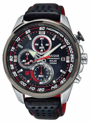 Pulsar Mens Solar Chronograph Black Leather Strap Black Dial PZ6005X1