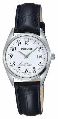 Pulsar Womens Black Leather Strap White Dial PH7447X1