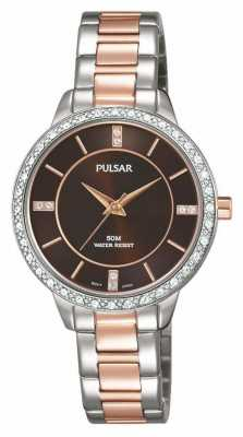 Pulsar Womens Two Tone Stainless Steel Bracelet Brown Dial PH8217X1