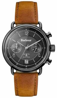 Barbour Mens Salisbury Tan Leather Strap Black Dial BB053BKTN